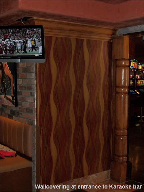 Wallcovering at entrance to Karaoke bar