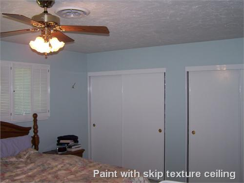 Paint with skip texture ceiling