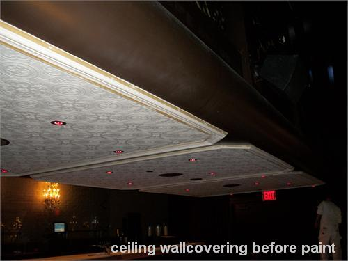 ceiling wallcovering before paint